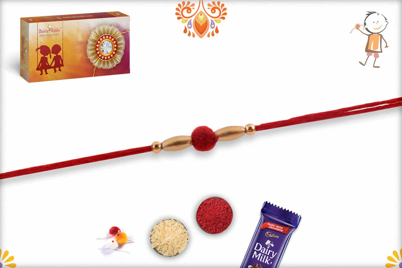 Delicate Red Velvet Bead Rakhi with Golden Beads 2