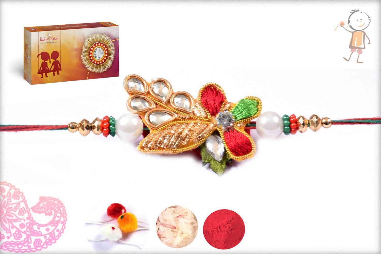 Stunning Zardosi Rakhi With Pearls