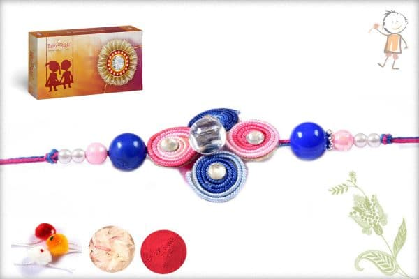 Blue-Pink Beads Traditional Rakhi