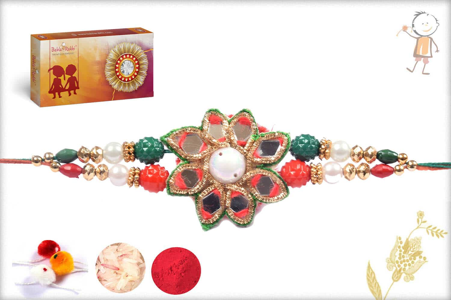Mirror Work Traditional Rakhi With Pearls