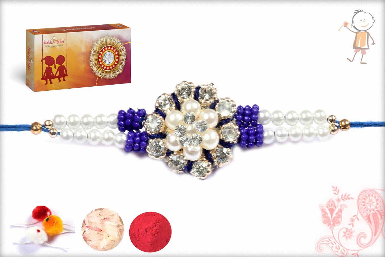 Simple Zardosi Rakhi With Pearls