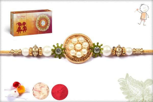 Beautiful Pearls Traditional Rakhi With Mauli Thread