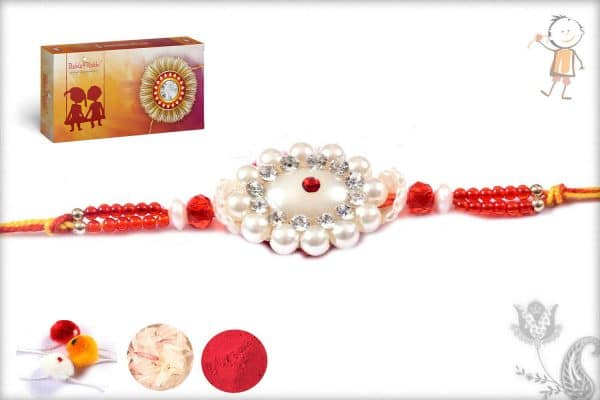 Elegant Red-Green Zardosi Rakhi