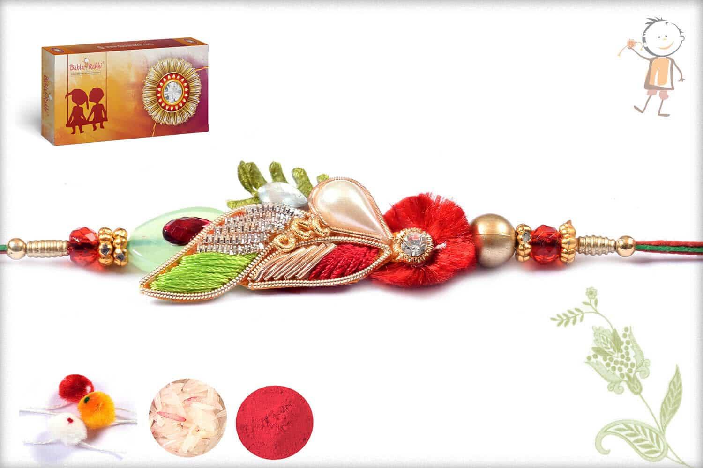 Traditional Zardosi Rkahi With Pearls And Diamonds