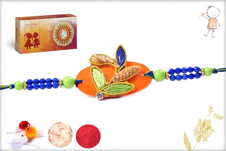 Stunning Orange-Green-Blue Zardosi Rakhi