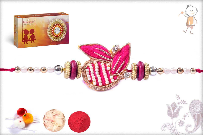 Beautiful Pink Zardosi Rakhi With Pearls
