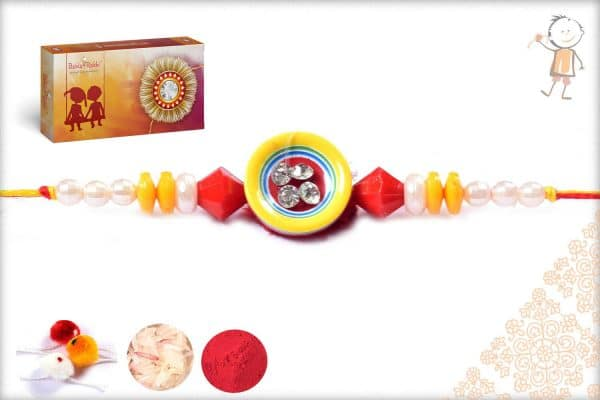 Simple Red-Yellow Pearl Rakhi