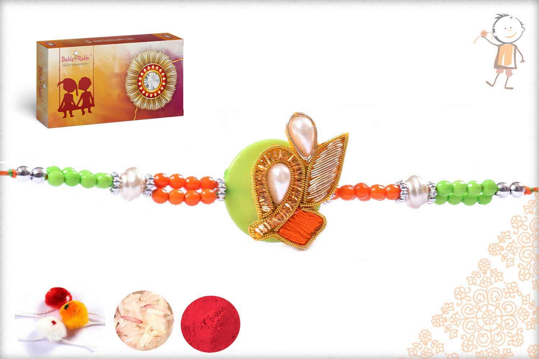 Premium Green-Orange Traditional Zardosi Rakhi