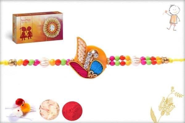 Beautiful Multicolor Design Zardosi Rakhi