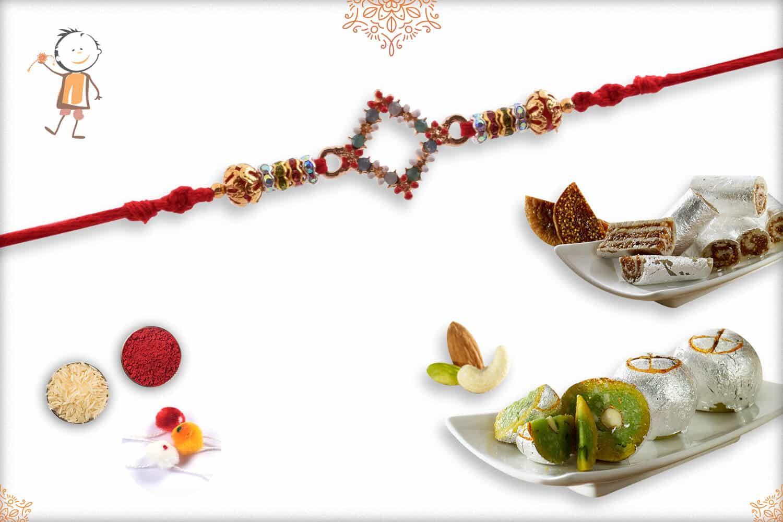 Rakhi with Kaju Anjeer Roll & Rajwadi Ladoo | Send Rakhi Gifts Online 1