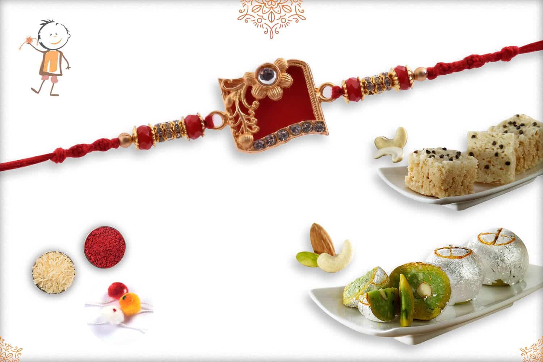 Rakhi with Kaju Maisur & Rajwadi Ladoo | Send Rakhi Gifts Online 1