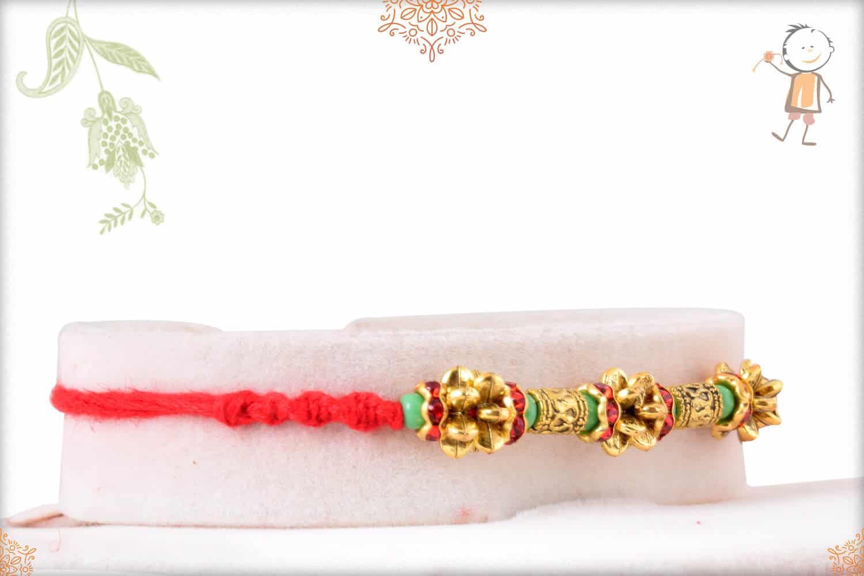 Unique Golden Beads Rakhi with Light Green Beads 2