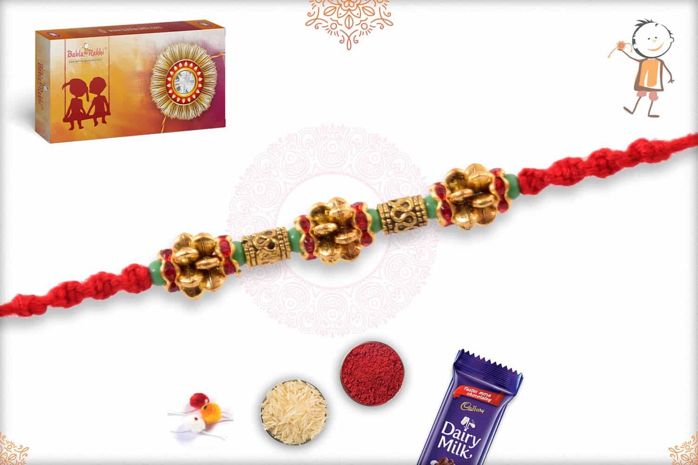 Unique Golden Beads Rakhi with Light Green Beads 3