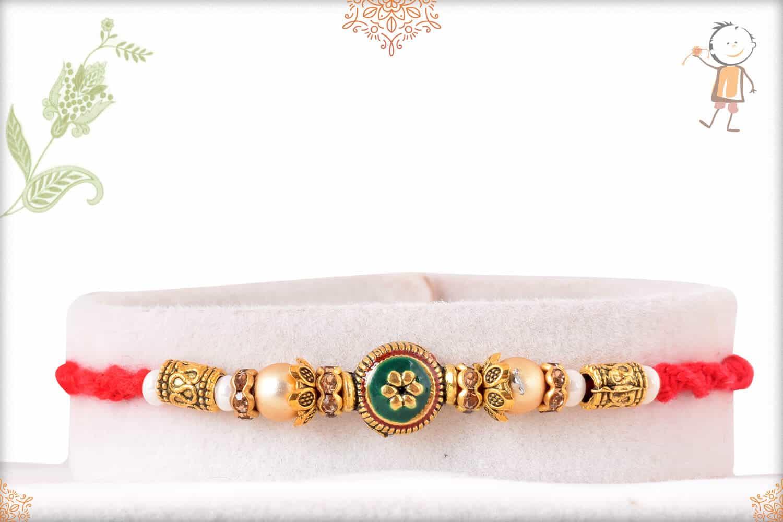 Green Meenakari Bead Rakhi with Golden Pearl 1