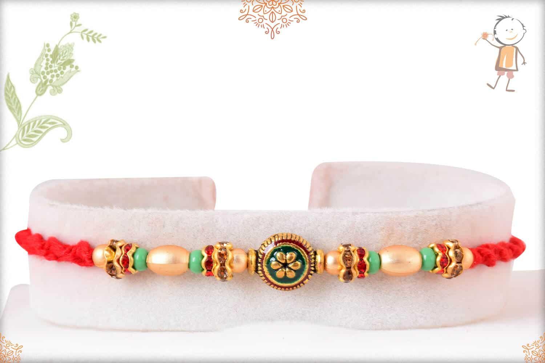 Green Meenakari Bead with Golden and Green Pearl Rakhi 1