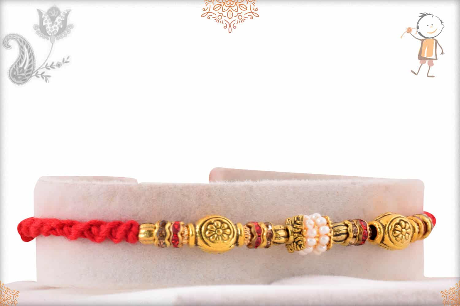 Antique Golden Beads with Pearl Ring Rakhi 2
