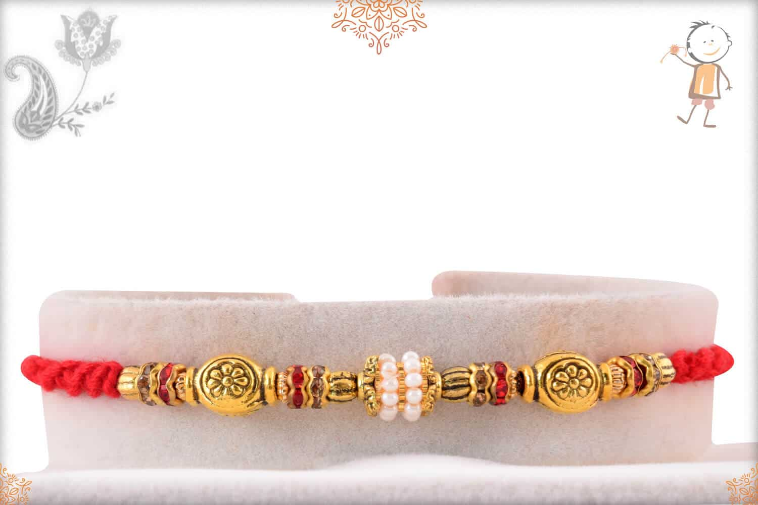 Antique Golden Beads with Pearl Ring Rakhi 1