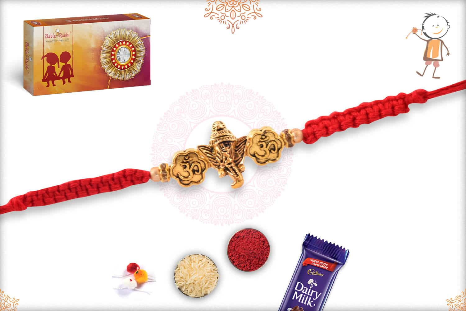 Antique Ganeshji OM Rakhi with Uniquely Knotted Red Thread 2