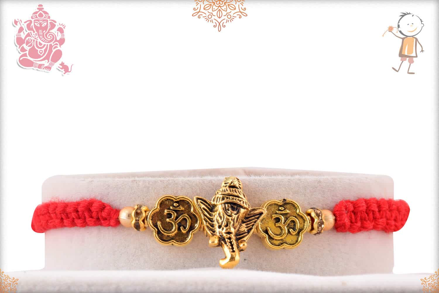 Antique Ganeshji OM Rakhi with Uniquely Knotted Red Thread 1