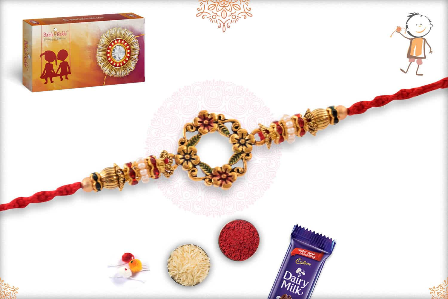 Antique Flower Rakhi with Daimonds and Pearls 2