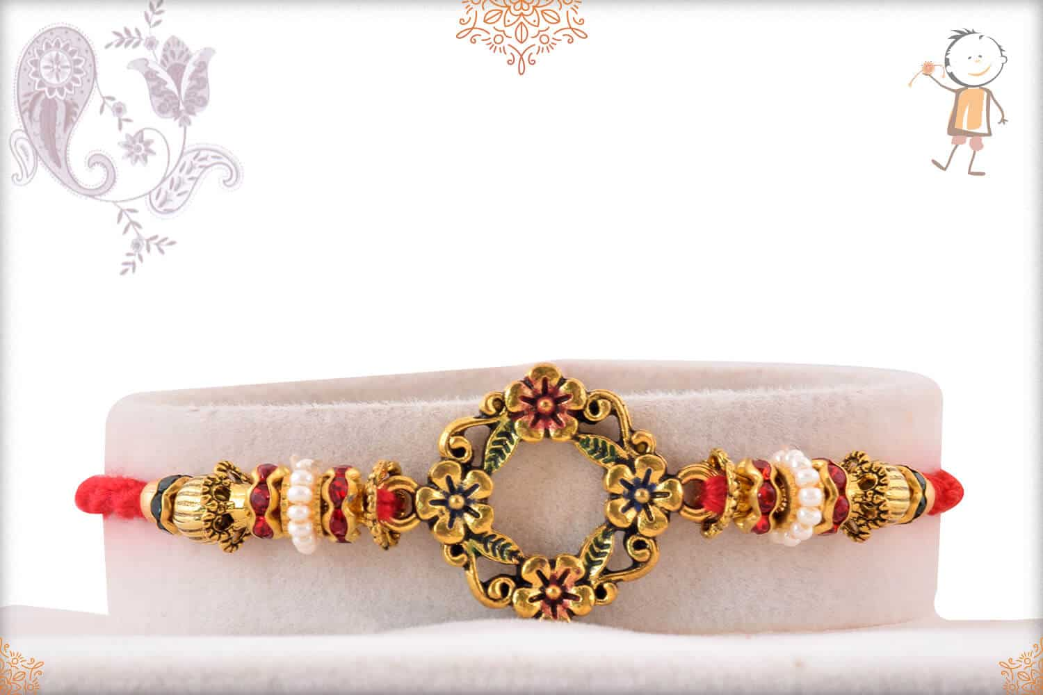 Antique Flower Rakhi with Daimonds and Pearls 1