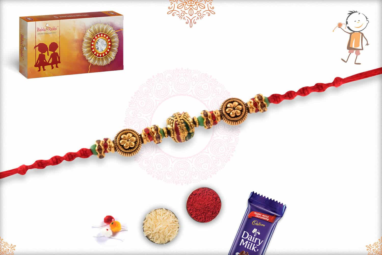 Exclusive Meenakari Beads with Diamonds Rakhi 2