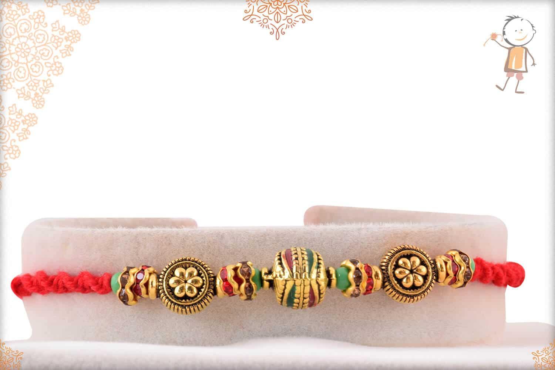 Exclusive Meenakari Beads with Diamonds Rakhi 1