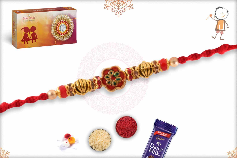 Red Meenakari Flower with Diamonds Rakhi 2