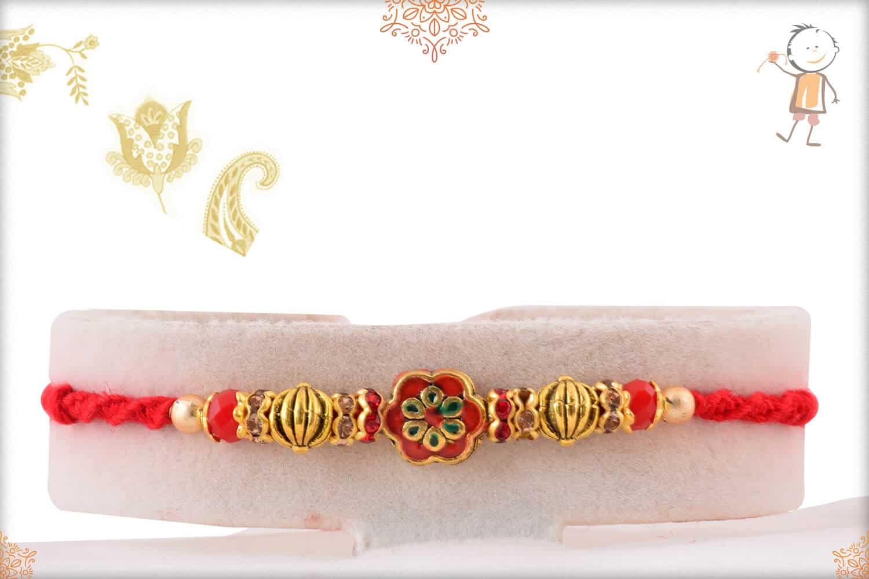 Red Meenakari Flower with Diamonds Rakhi 1
