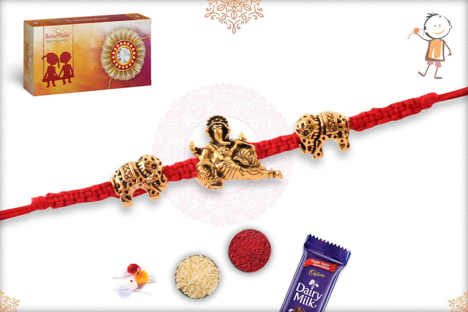 Uniquely Knotted Red Thread with Ganesh and Gajraj Rakhi 2