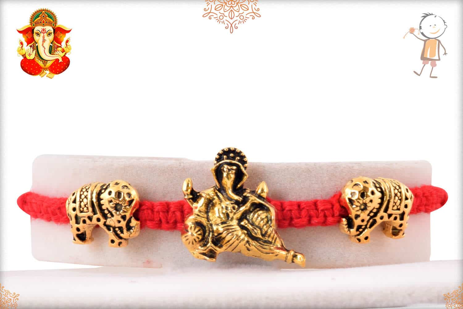 Uniquely Knotted Red Thread with Ganesh and Gajraj Rakhi 1