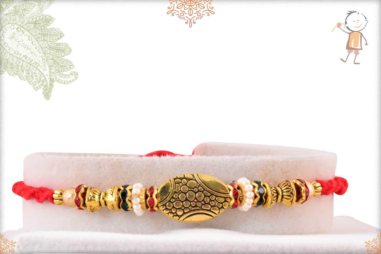 Exclusive Oval Bead with Diamonds Rakhi 1