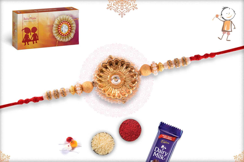 Stunning Pearl Golden Flower with Golden Beads Rakhi 2