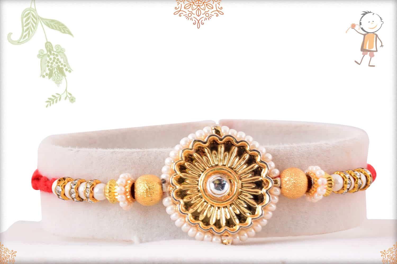 Stunning Pearl Golden Flower with Golden Beads Rakhi 1