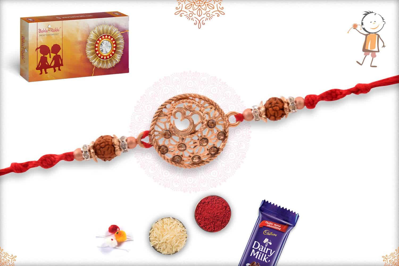 Rose Gold OM with Rudraksh Rakhi 2