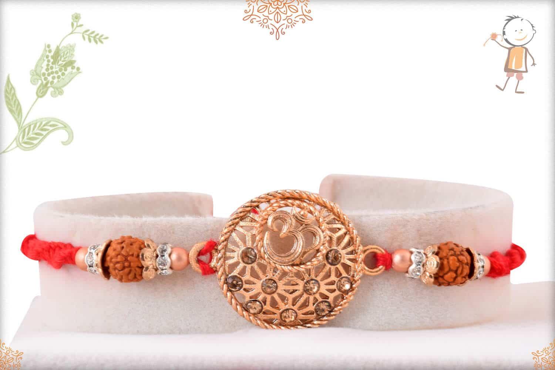 Rose Gold OM with Rudraksh Rakhi 1