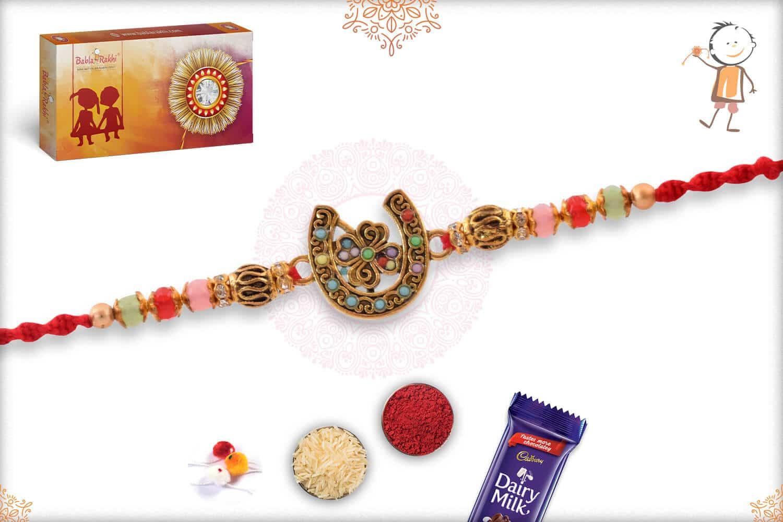 Good Luck Horseshoe Rakhi with Pastel Beads 2