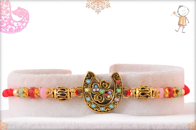 Good Luck Horseshoe Rakhi with Pastel Beads 1
