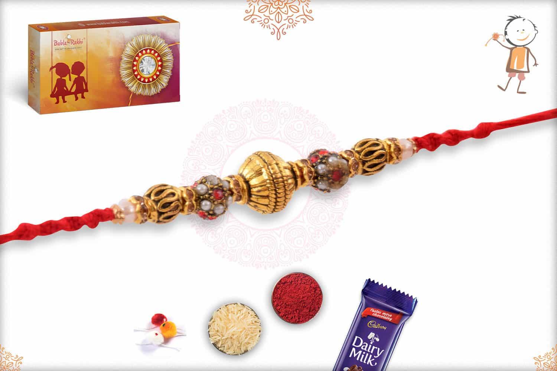 Antique Rajwadi Beads Rakhi 2