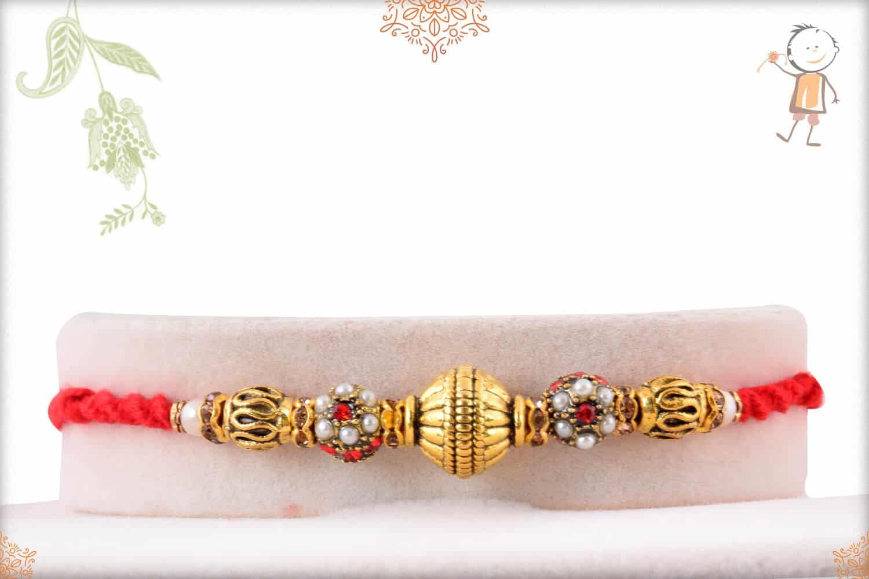 Antique Rajwadi Beads Rakhi 1