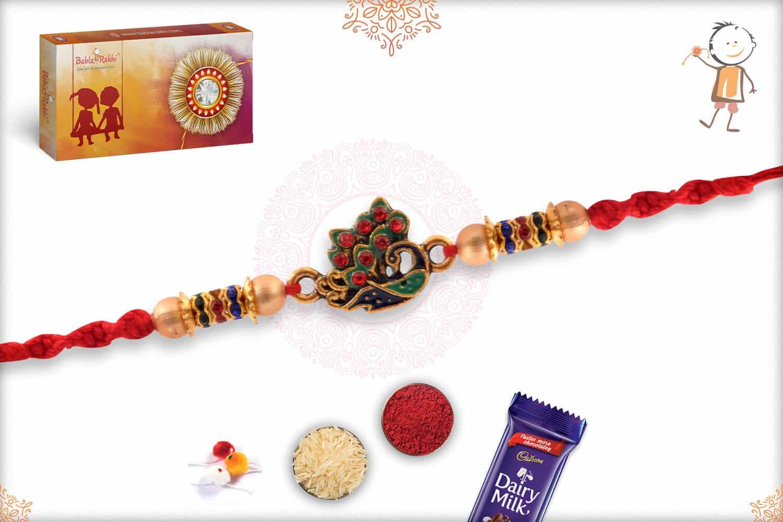Meenakari Peacock Rakhi with Golden Beads 2