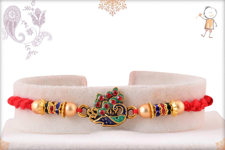 Meenakari Peacock Rakhi with Golden Beads 1