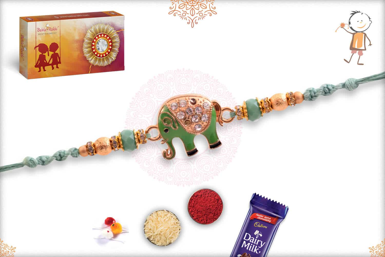 Pastel Green Diamond Elephant Rakhi 2