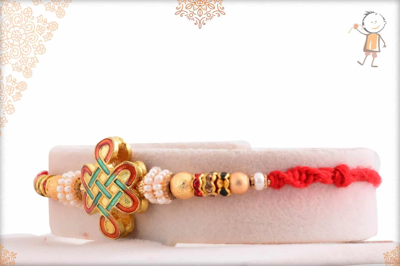Unique Kolam Rakhi with Golden Beads 2