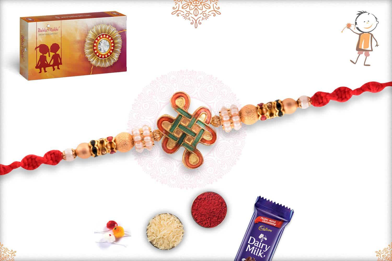 Unique Kolam Rakhi with Golden Beads 3