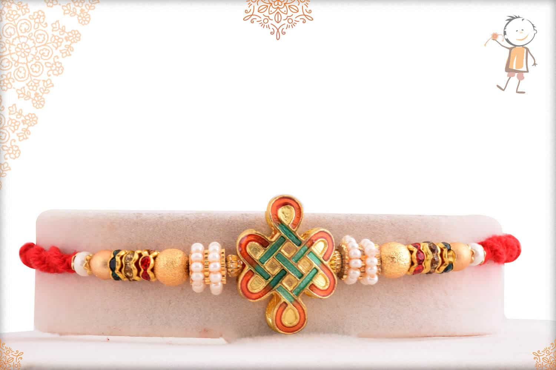 Unique Kolam Rakhi with Golden Beads 1