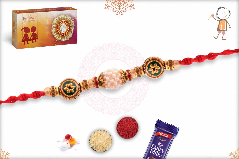 Beautiful Preal with Meenakari Beads Rakhi 2