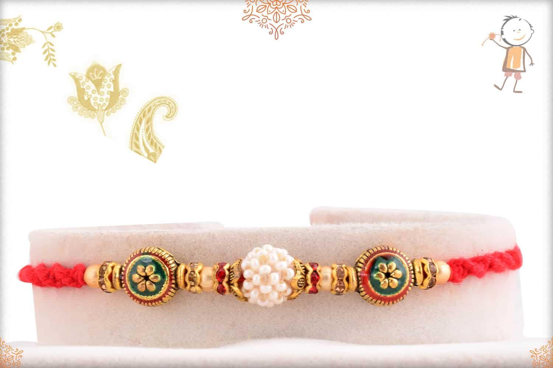 Beautiful Preal with Meenakari Beads Rakhi 1