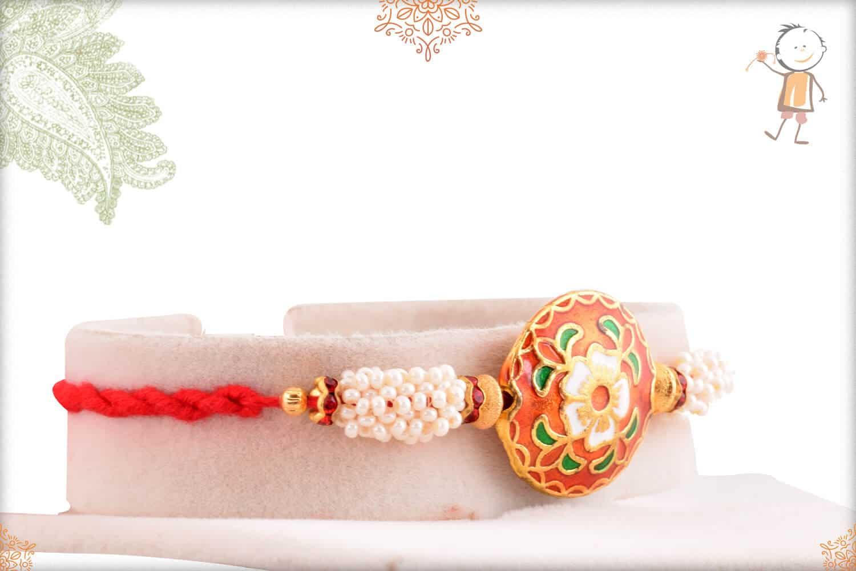 Rajwadi Flower Meenakari Rakhi with Pearls 2