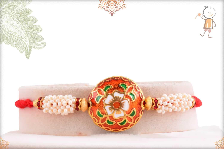 Rajwadi Flower Meenakari Rakhi with Pearls 1